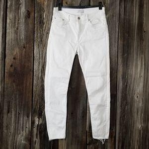 Zara white cropped raw edge jeans